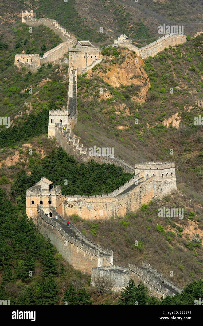 China, Hebei province, Great Wall of China listed as World Heritage by UNESCO, Jinshanling section - Stock Image