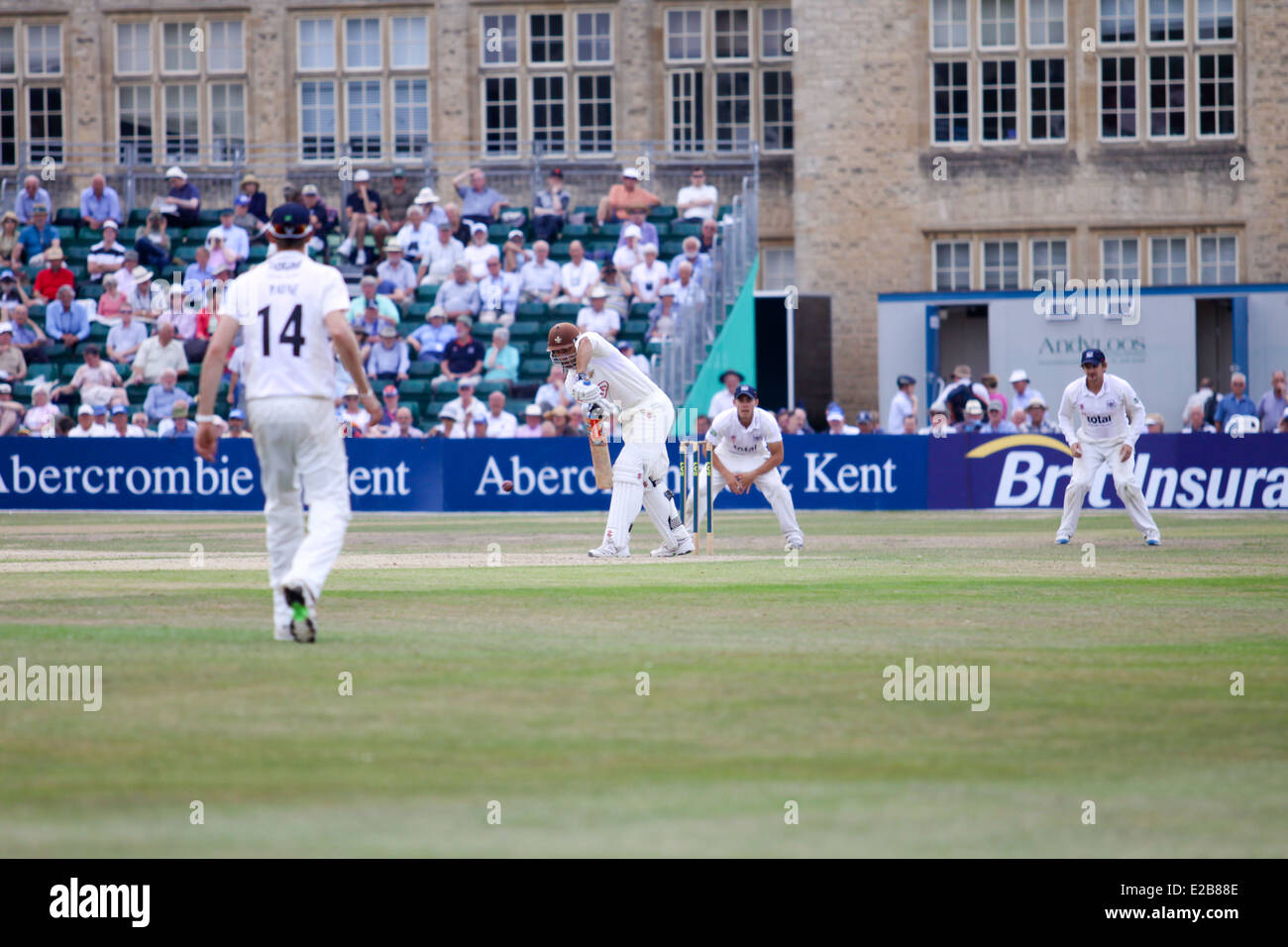 Men playing cricket at a match during the Cheltenham Cricket festival - Stock Image