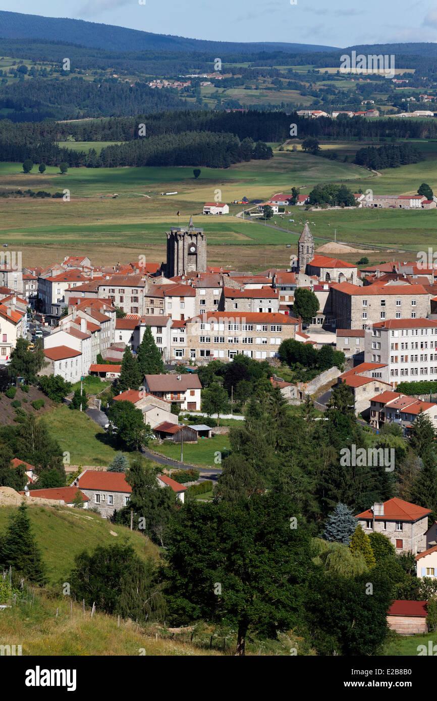 France, Haute Loire, Gevaudan, mountains of Margeride, Saugues, Via Podiensis Pilgrimage of St Jacques de Compostela - Stock Image