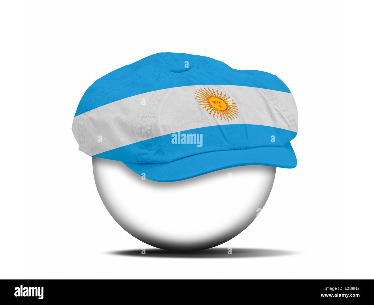fashion hat on white with the flag of Argentina - clipping path for the hat - Stock Image