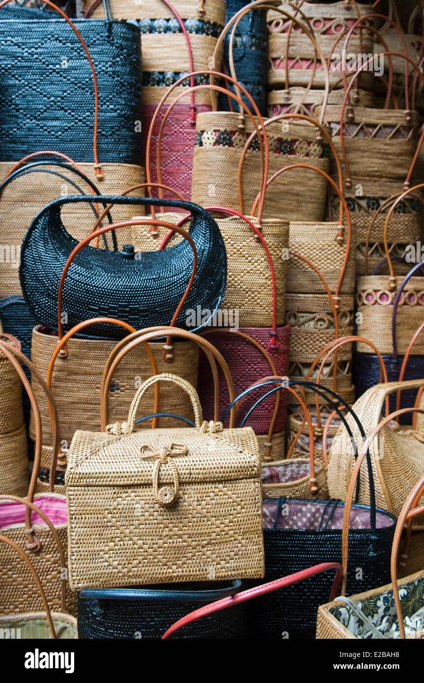 Indonesia, Bali, Ubud, market basket, handbags - Stock Image
