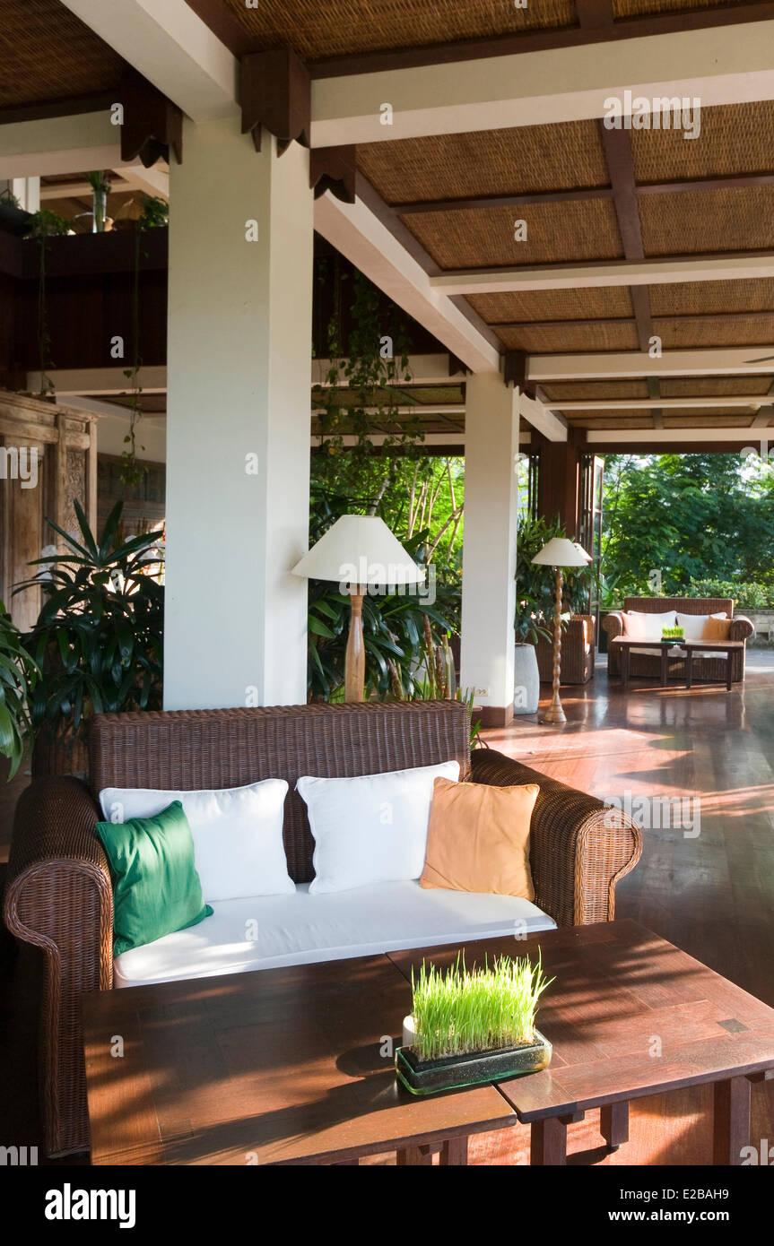 Indonesia, Bali, Ubud, Buahan Payangan, Ubud Hanging Gardens hotel group Orient-Express, lobby - Stock Image