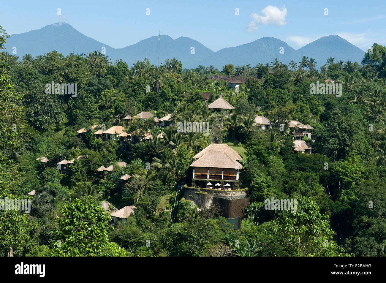 Indonesia, Bali, Ubud, Buhan Payangan, Ubud Hanging Gardens hotel group Orient Express overview of the hotel in - Stock Image