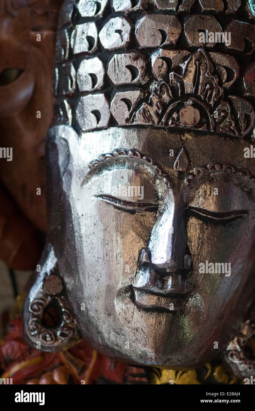 Indonesia, Bali, Ubud, market, gift shop, mask - Stock Image