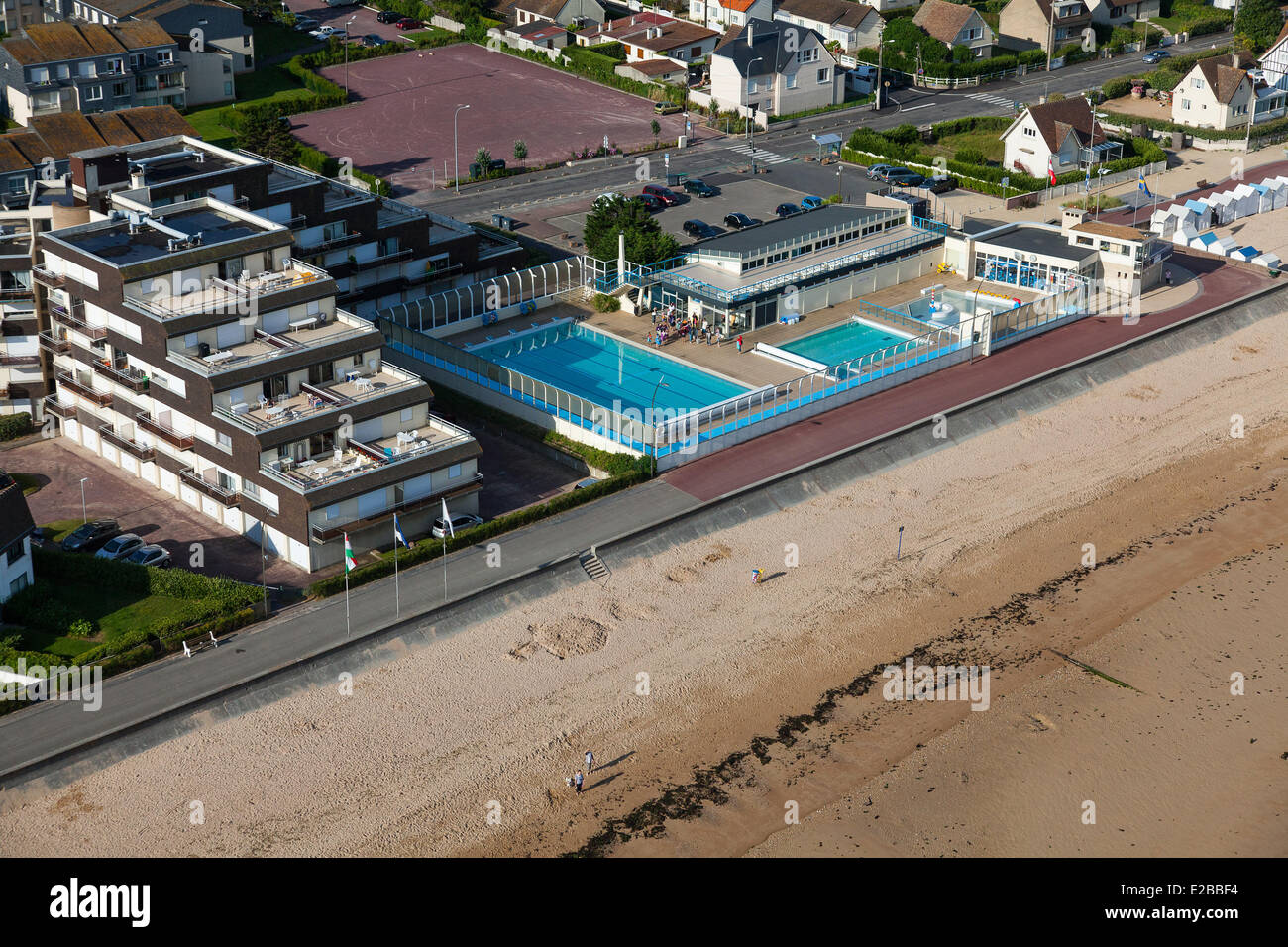 France, Calvados, Courseulles Sur Mer, The Swimming Pool (aerial View)
