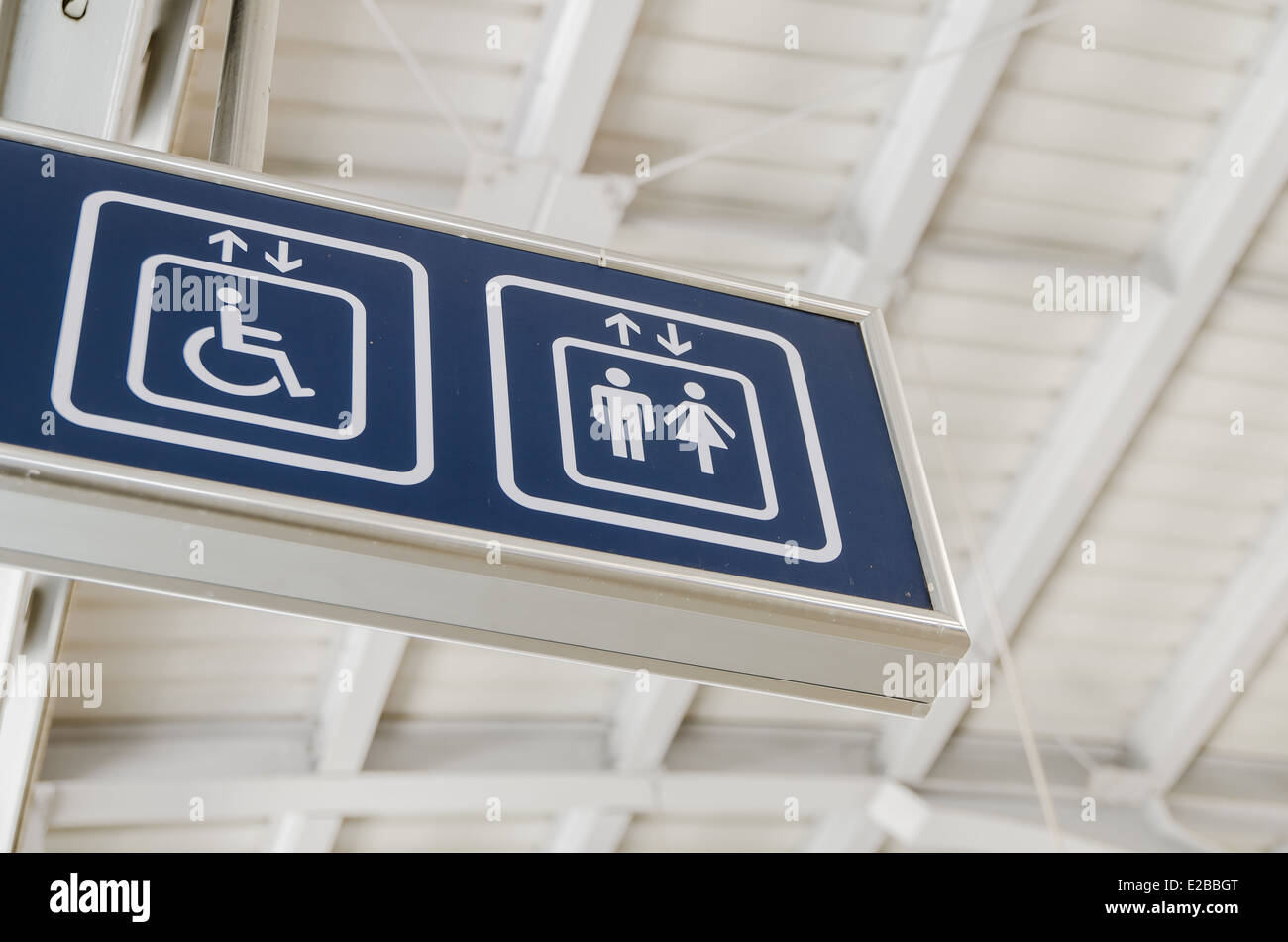 Elevator Sign, direction to elevator - Stock Image
