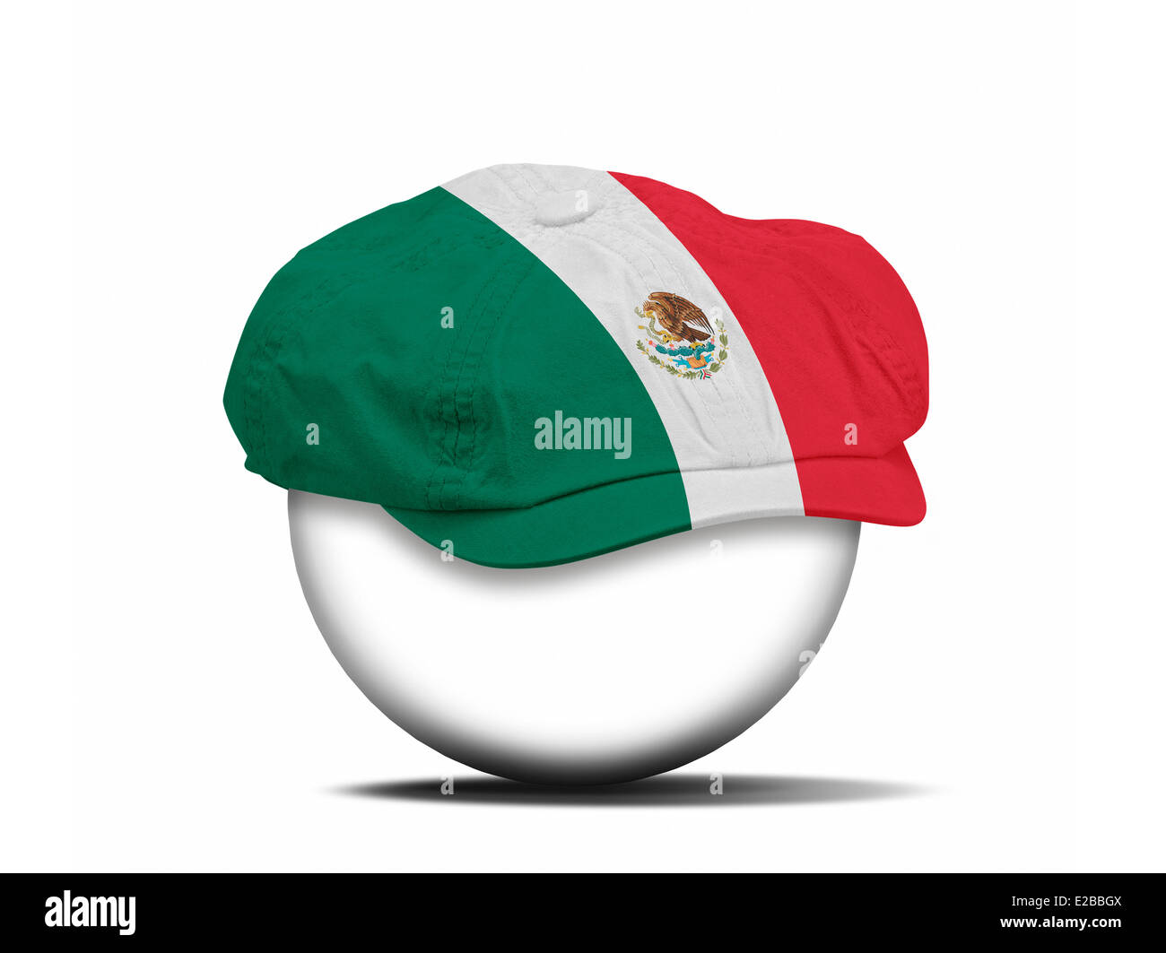 fashion hat on white with the flag of Mexico - clipping path for the hat - Stock Image