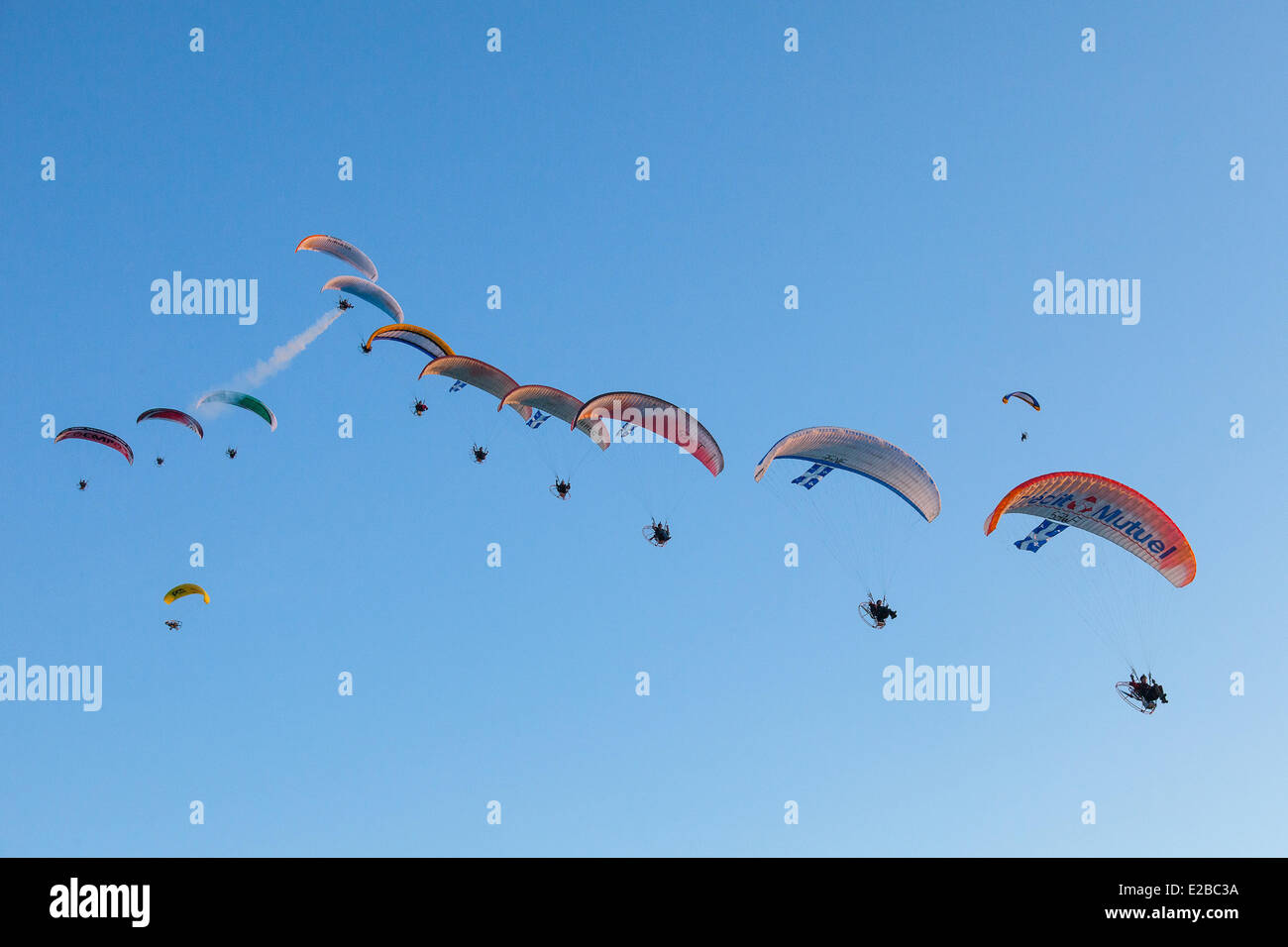 France, Moselle, Basse Ham, Biennial World Paramotor 2012 (aerial view) - Stock Image