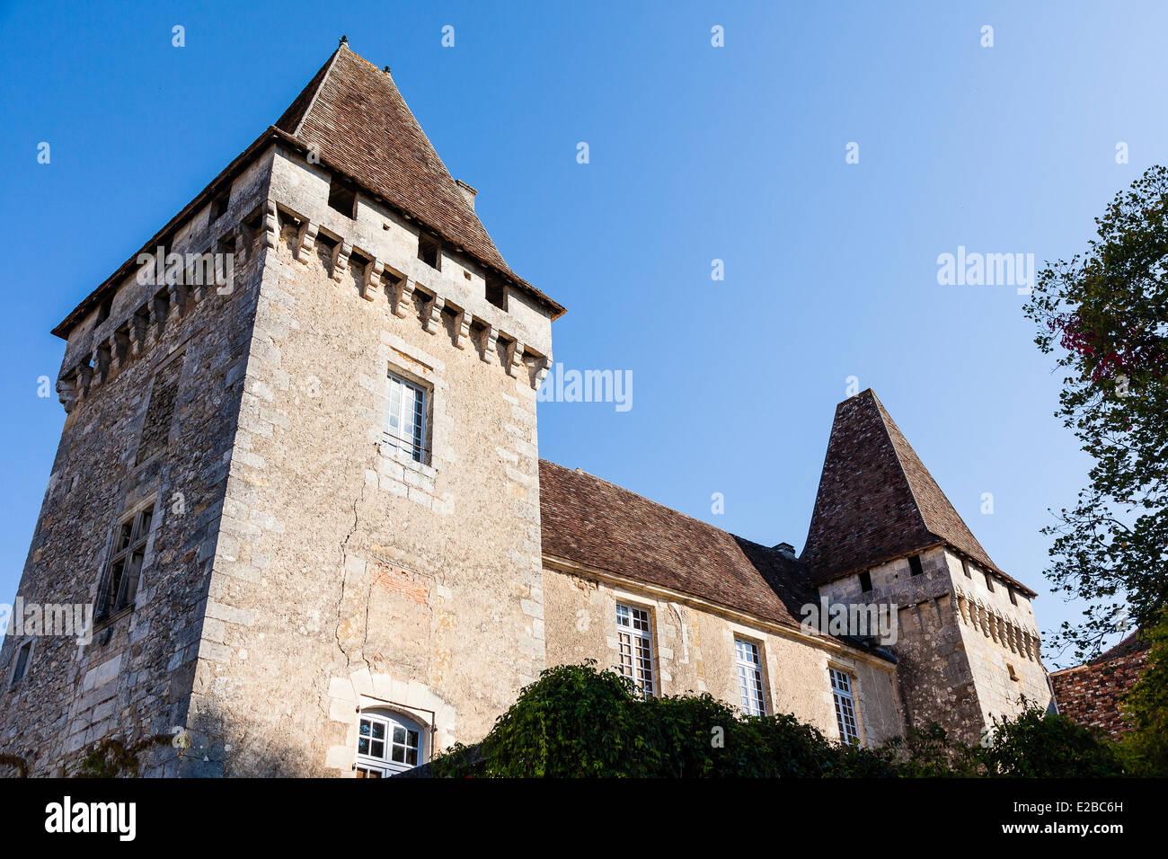 France, Dordogne, Perigord Vert, Saint Jean de Cole, labelled The Most Beautiful Villages of France, castle - Stock Image