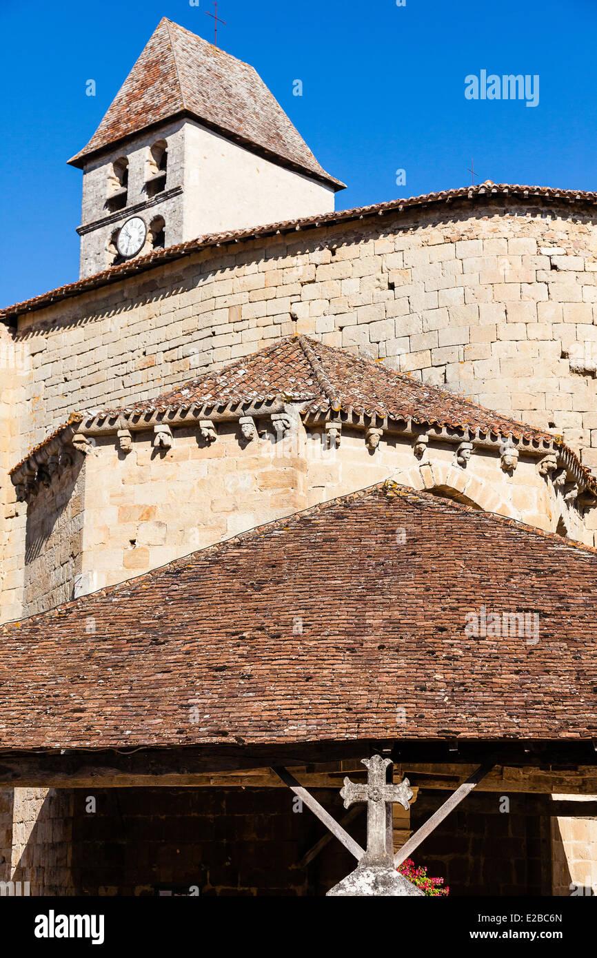 France, Dordogne, Perigord Vert, Saint Jean de Cole, labelled The Most Beautiful Villages of France, church - Stock Image