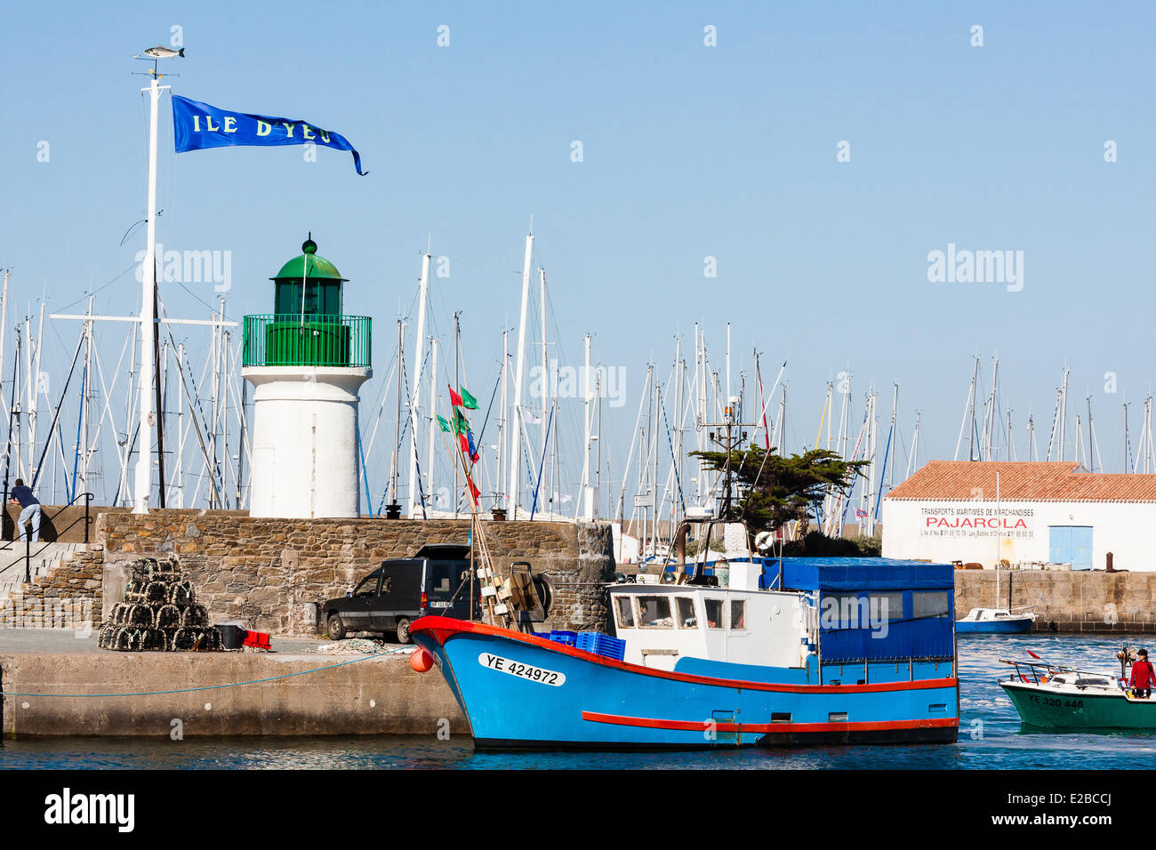 France, Vendee, Ile d'Yeu, Port Joinville, the harbour Stock Photo