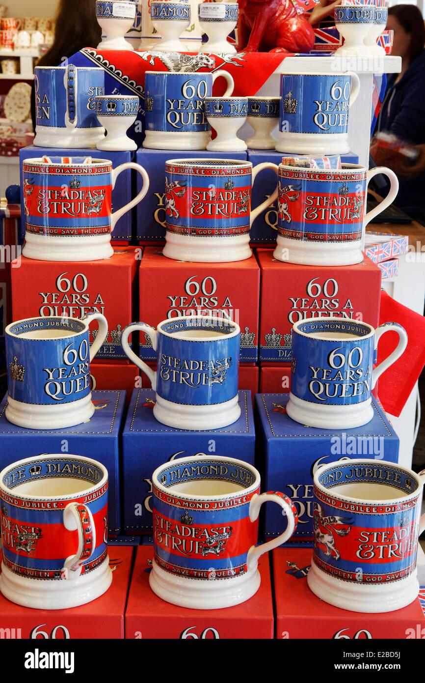United Kingdom, London, Emma Bridgewater shop, muggs dedicated to the jubilee of Queen - Stock Image