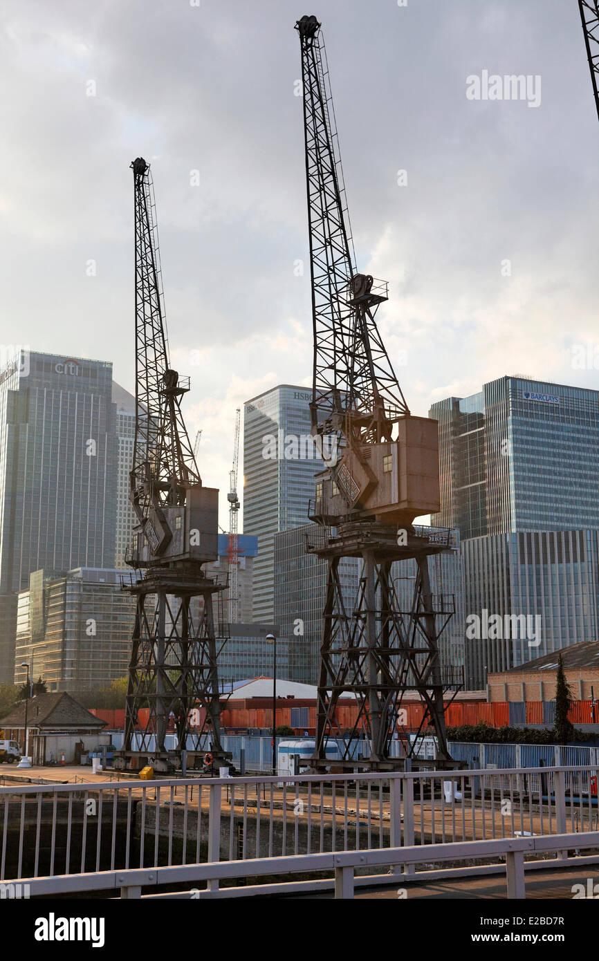 United Kingdom, London, the Isle of Dogs, old docks rehabilitated residential area - Stock Image