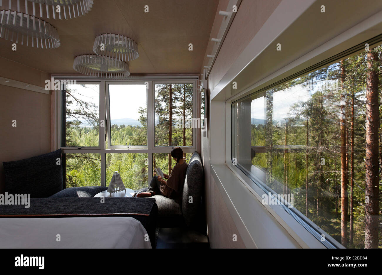 Sweden, Lapland, Norrbotten County, Harads, Treehotel, Cabine hut, bedroom - Stock Image