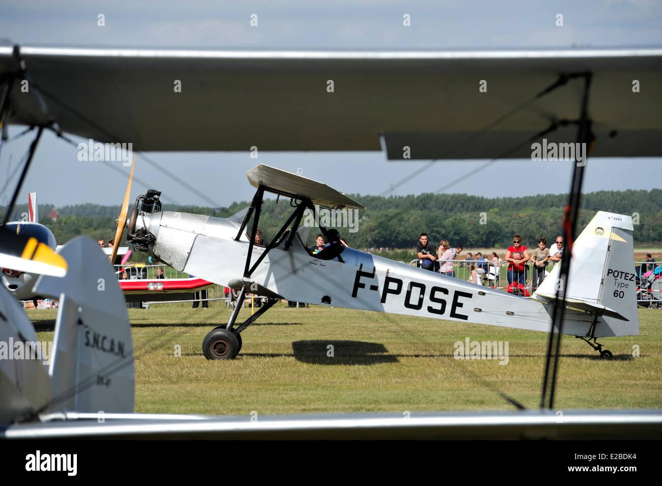 France, Pas de Calais, Lens, air meeting, biplane Potez type 60 on the ground - Stock Image