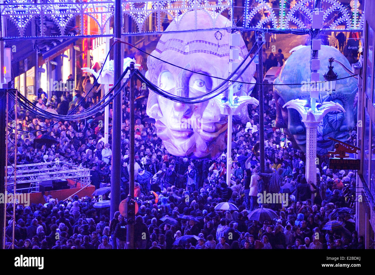 France, Nord, Lille, Lille 3000 Fantastic, parade of opening by night, parade of giant masks - Stock Image
