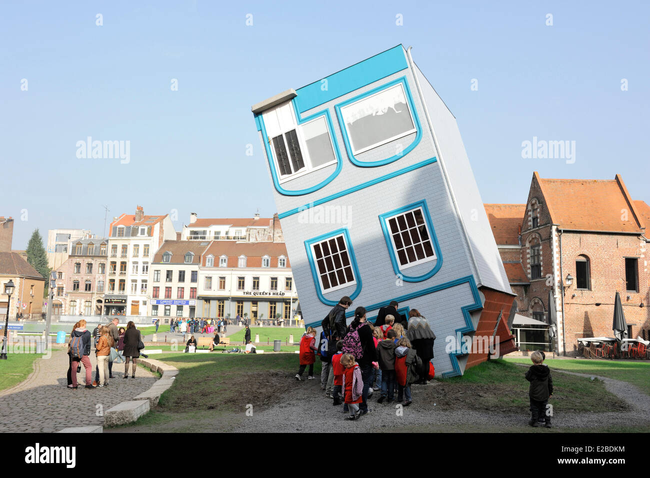 France, Nord , Lille, Lille 3000 Fantastic, House Fell from the Sky created by Jean Francois Fourtou - Stock Image