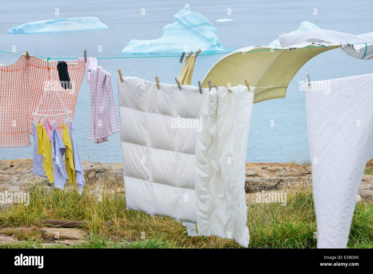 Greenland, Baffin Bay, Nutaarmiut, Drying laundry - Stock Image
