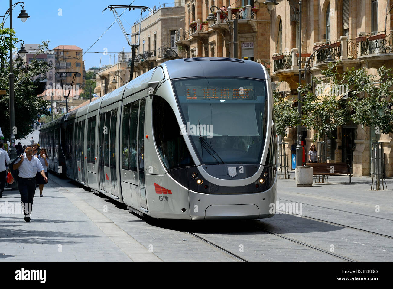 Israel, Jerusalem light rail on Jaffa Road, the line is 13.9 kilometers (8.6 mi) long with 23 stops and the train - Stock Image