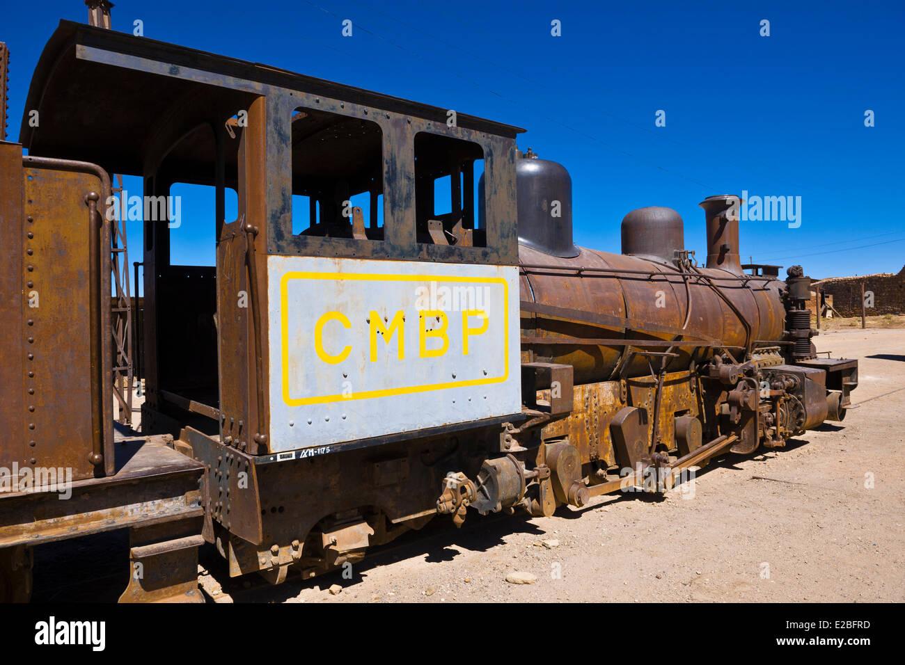 Bolivia, Potosi Department, Pulacayo, disused silver mine, train - Stock Image