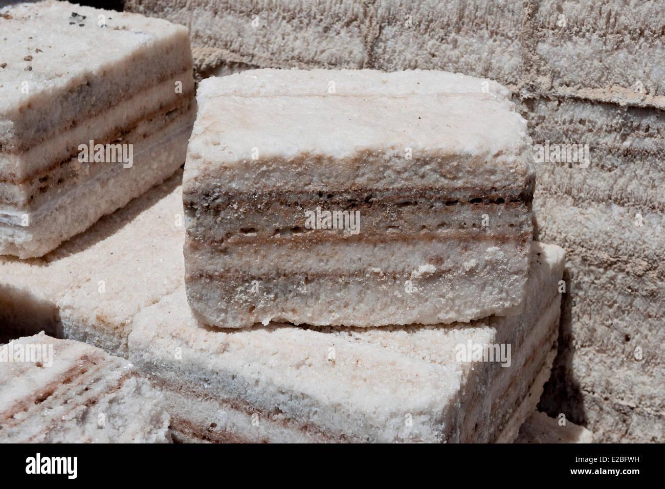 Bolivia, Potosi Department, Salar de Uyuni, Colchani village, salt brick - Stock Image
