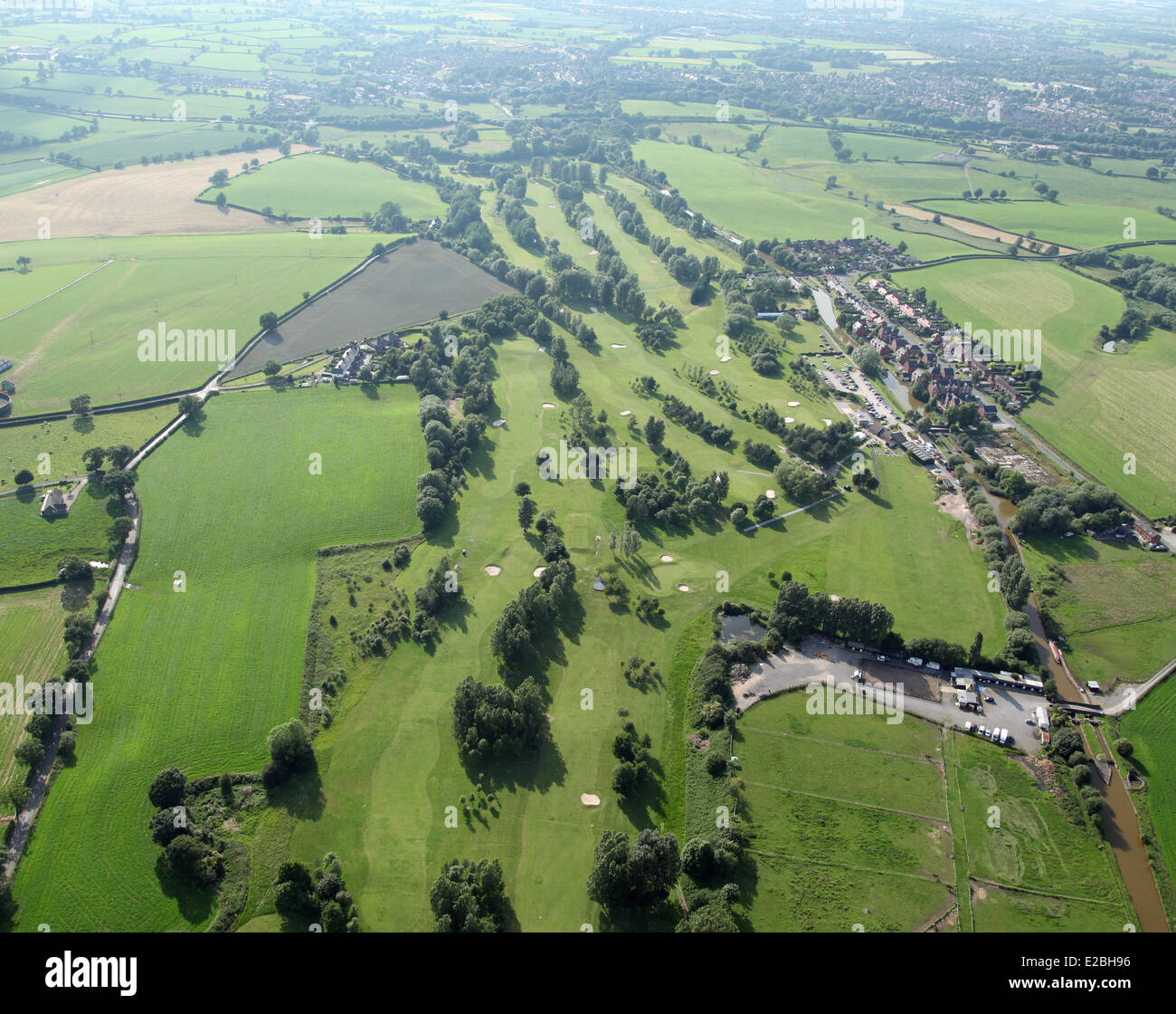aerial view of Malkins Bank Golf Course at Sandbach in Cheshire, UK - Stock Image