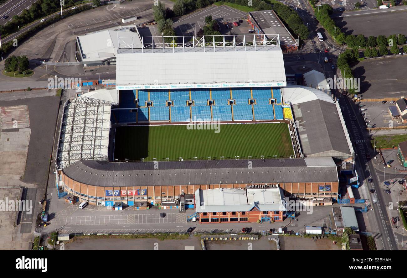 aerial view of Leeds United Elland Road football stadium - Stock Image