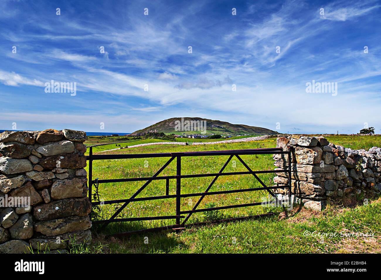 Leenan Head from Clomany Road, Inishowen Peninsula, County Donegal, Ireland - Stock Image