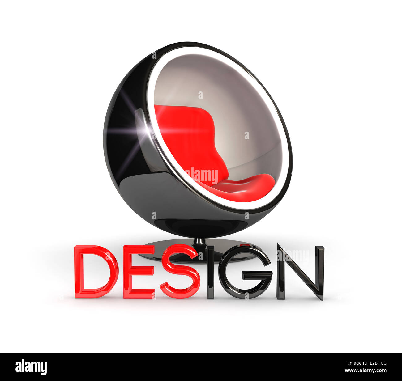 3d design chair, isolated white background, 3d image Stock Photo