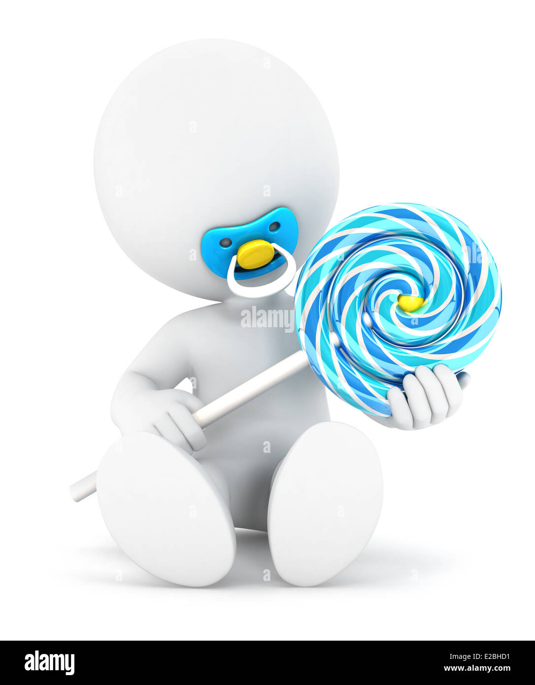 3d white people baby boy and a lollipop, isolated white background, 3d image Stock Photo