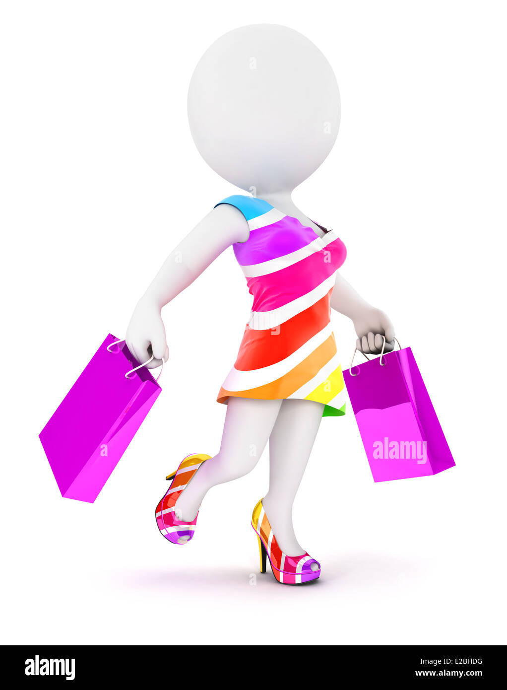 3d white people fashion woman with shopping bags, isolated white background, 3d image Stock Photo