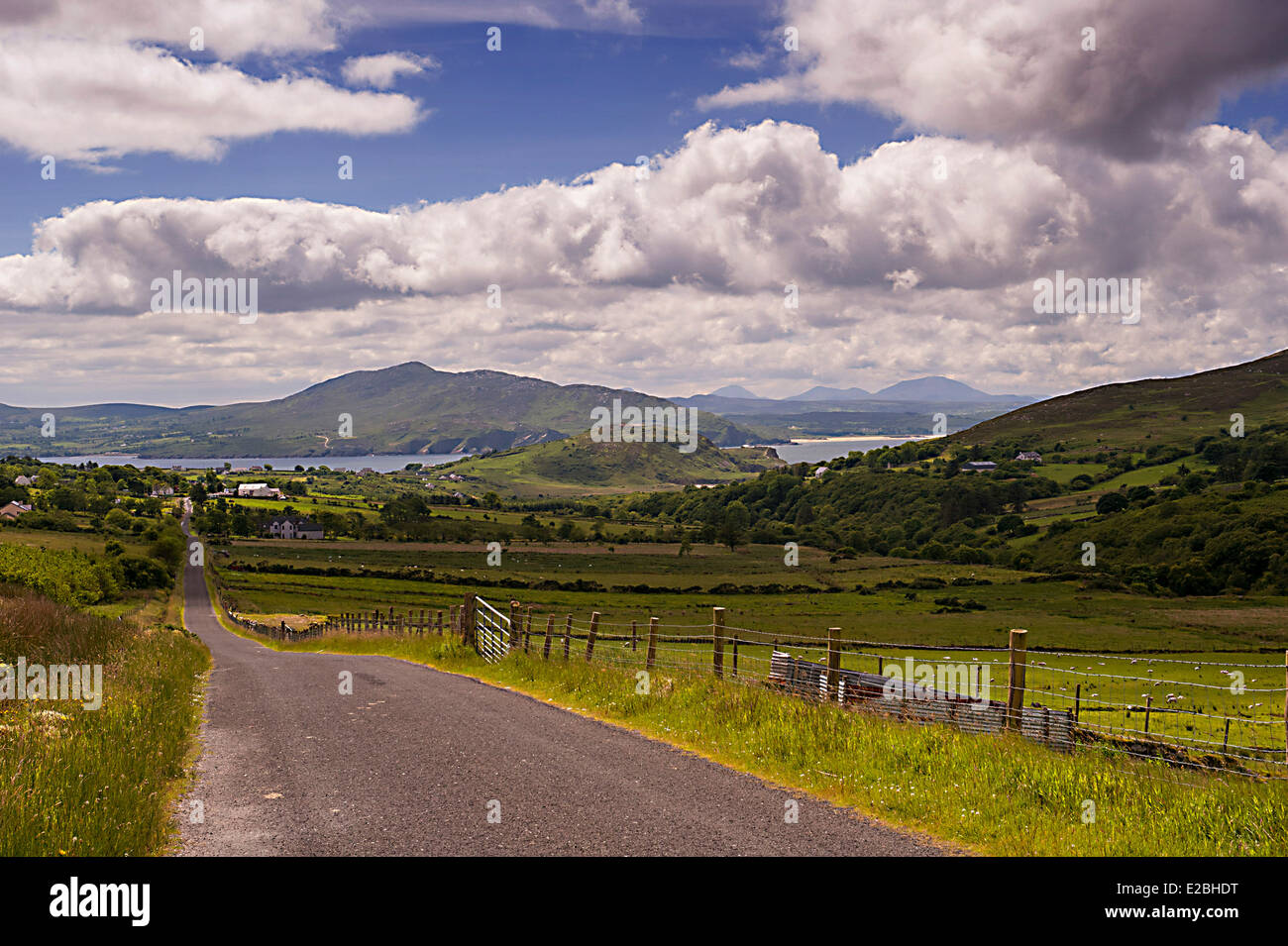 Country road in North West Donegal from the Mamore Gap, Inishowen Peninsula, Donegal, Ireland - Stock Image