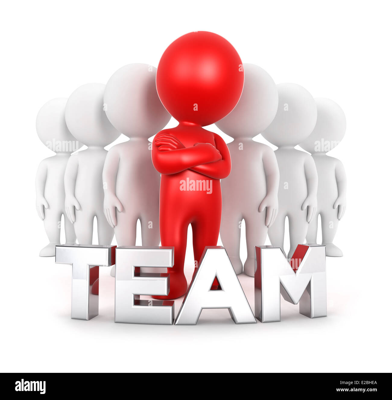3d white people team with a leader, isolated white background, 3d image Stock Photo