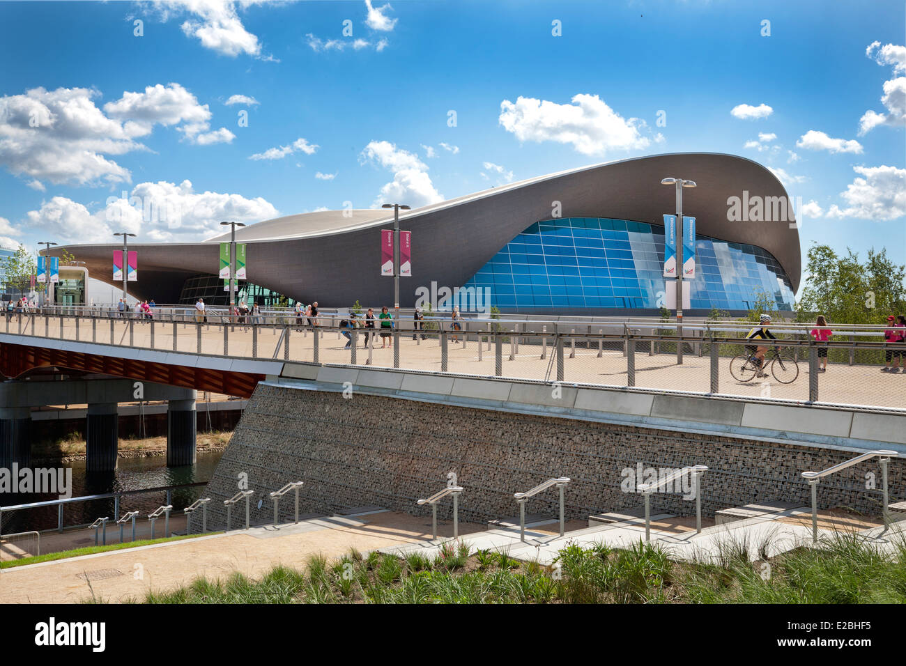 London Aquatics Centre at the Queen Elizabeth Olympic Park. - Stock Image