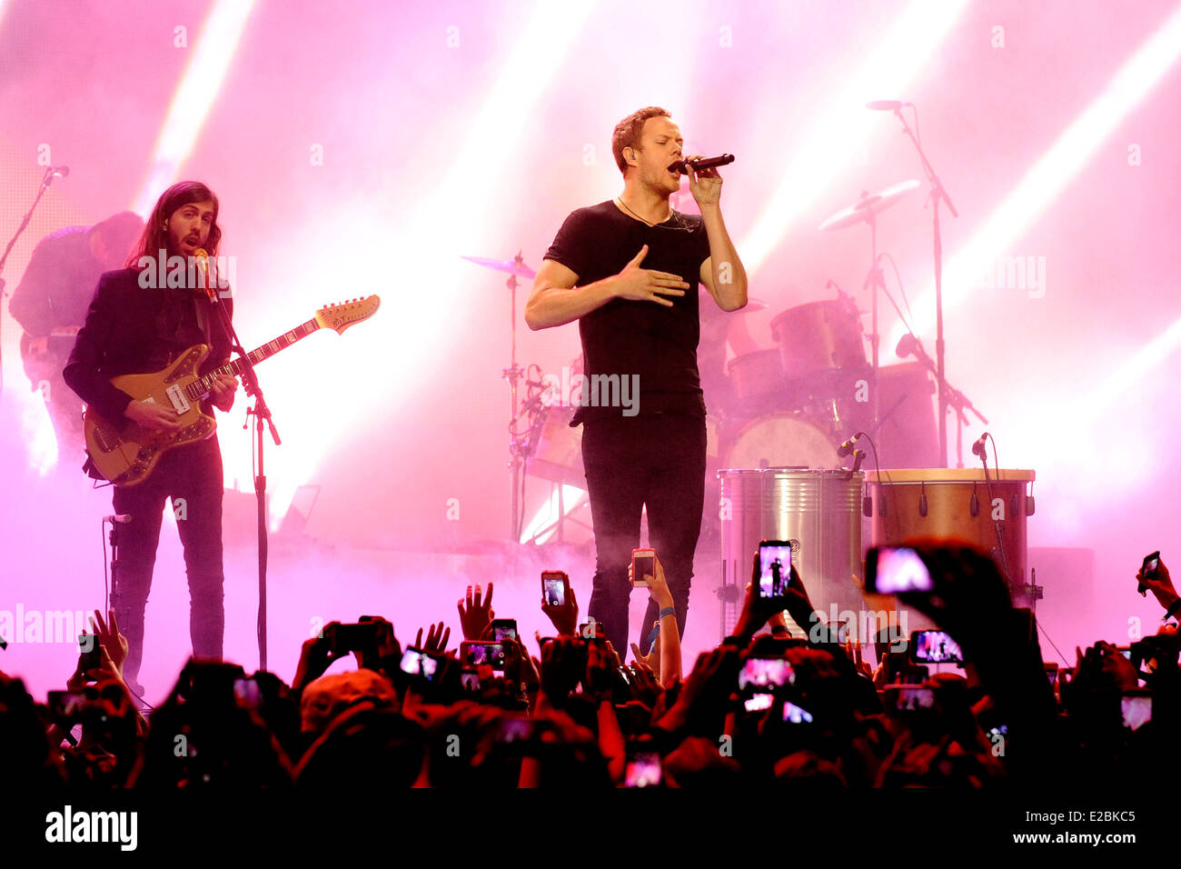 Imagine Dragons with lead singer Dan Reynolds performs at the 2014 MuchMusic Video Awards (MMVA). - Stock Image