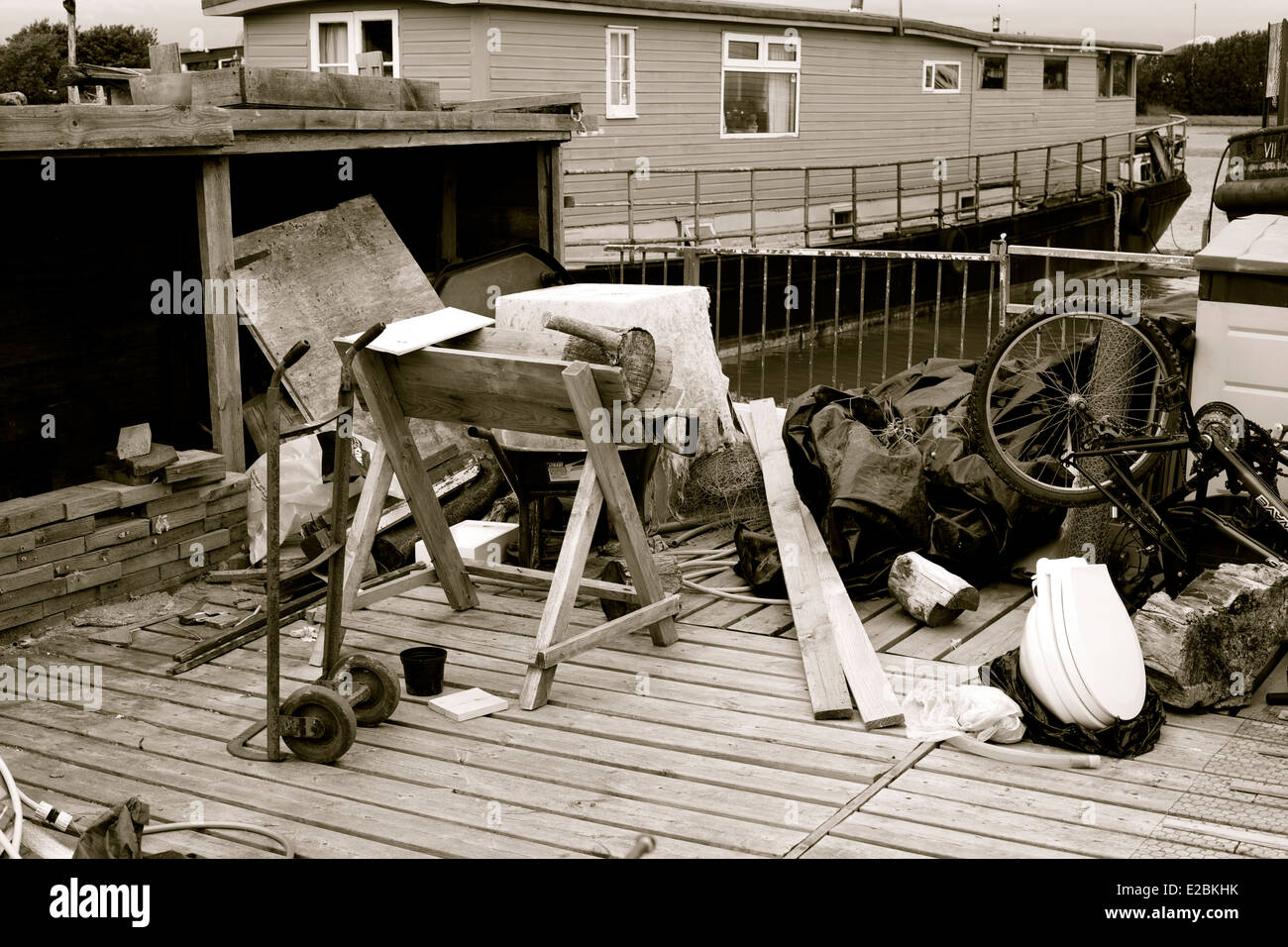 Junk on a houseboat, Black & White - Stock Image