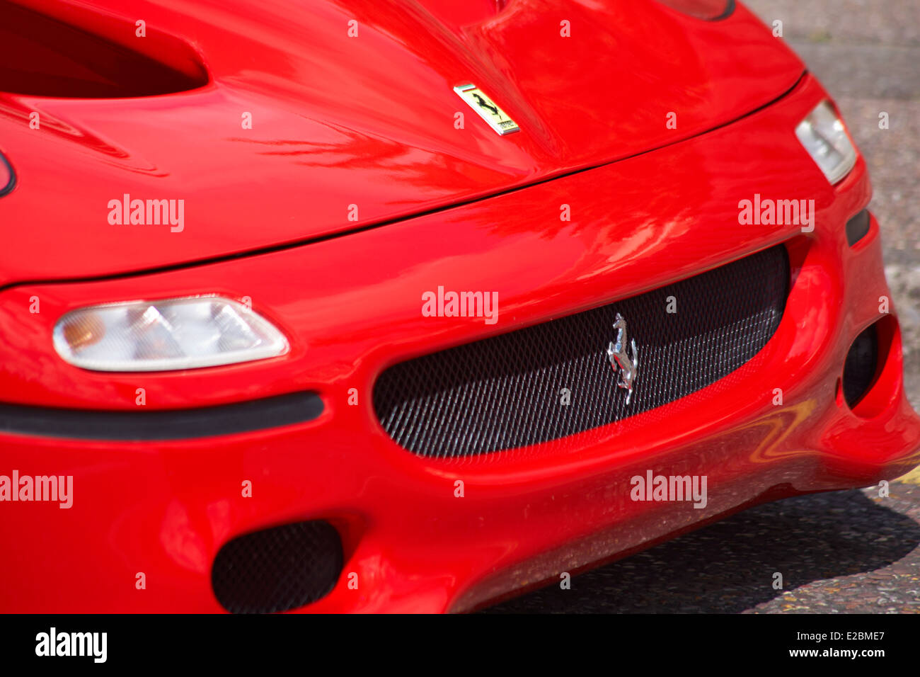 Front Of Red Ferrari Racing Car At Bournemouth Wheels Festival In May    Stock Image