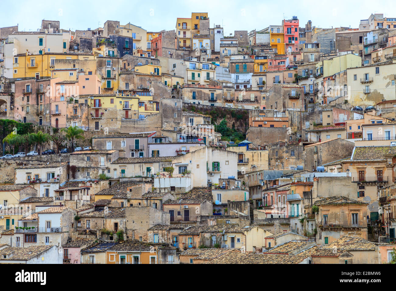 Panoramic view of Ragusa Ibla houses - Stock Image