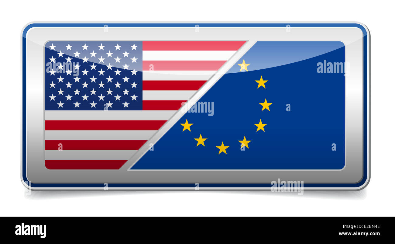 USA - EU flag cooperation sign board with shadow on white background - Stock Image