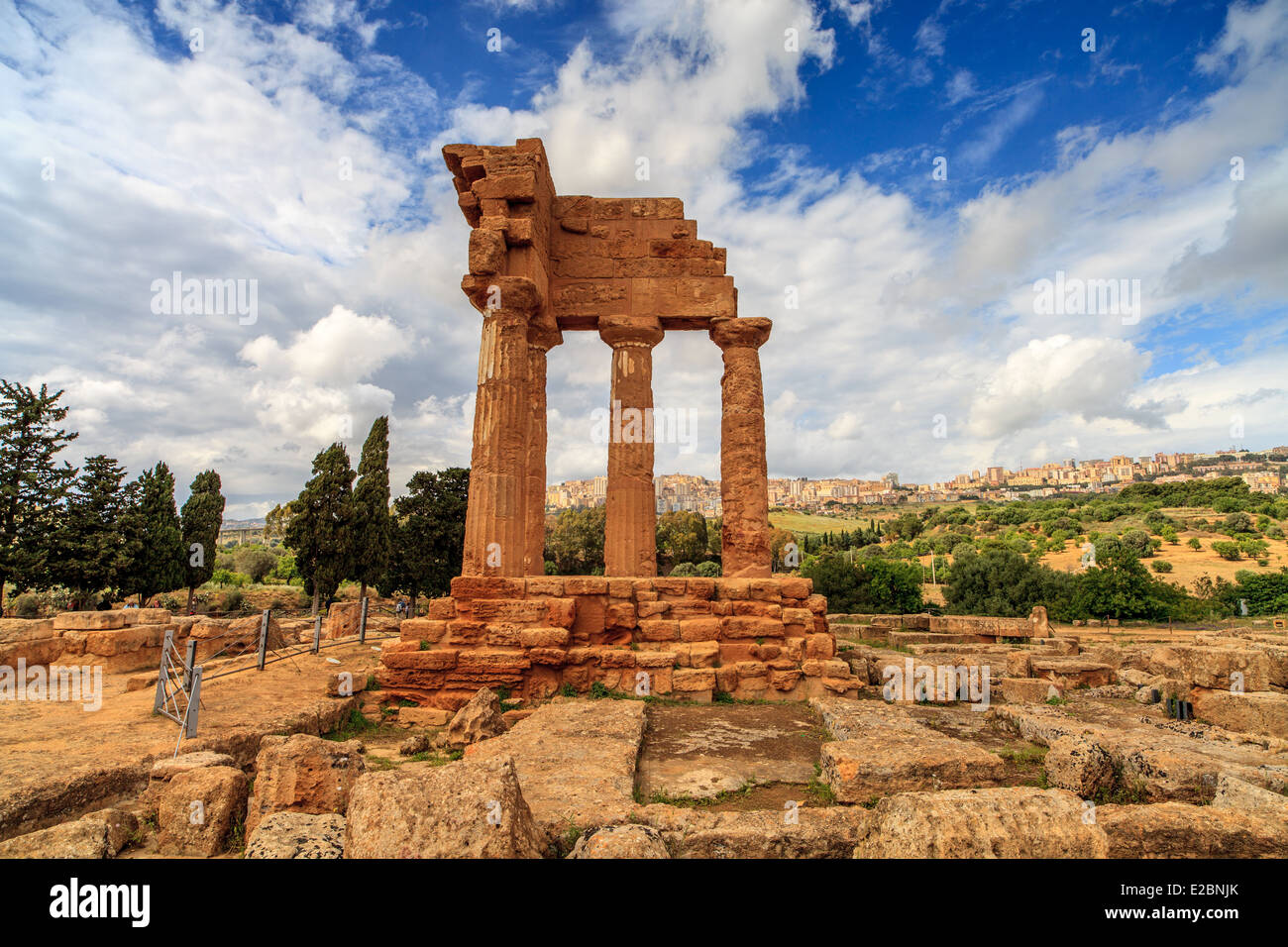 Archaic Greek Temple of the Dioscuri in Valley of Temples - Stock Image