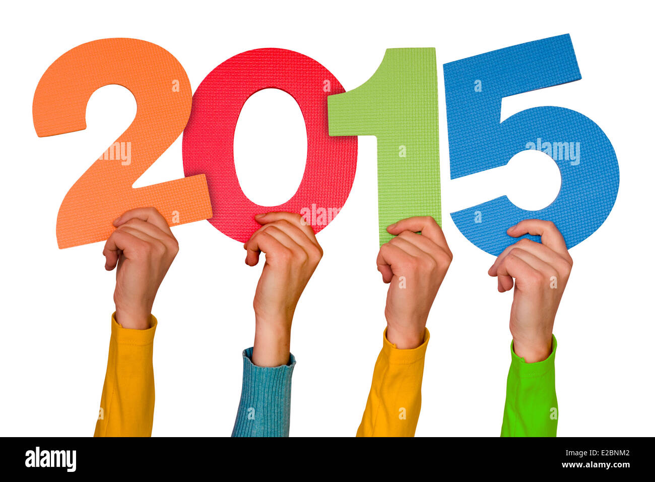 Hands with color numbers shows year 2015. Isolated on white background - Stock Image