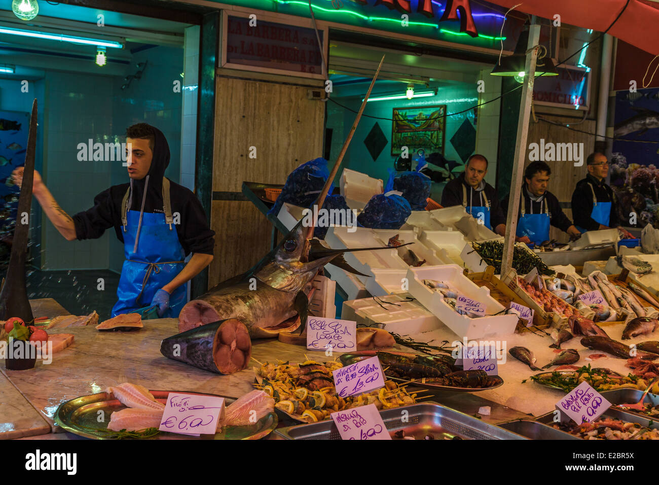 Ballarò, famous seafood market in Palermo - Stock Image