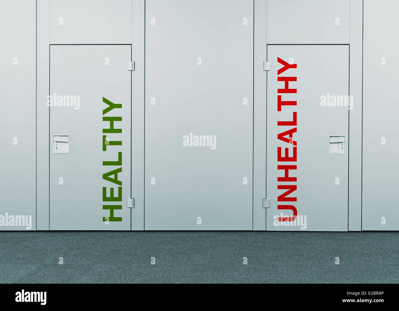 Healthy and unhealthy door - Stock Image