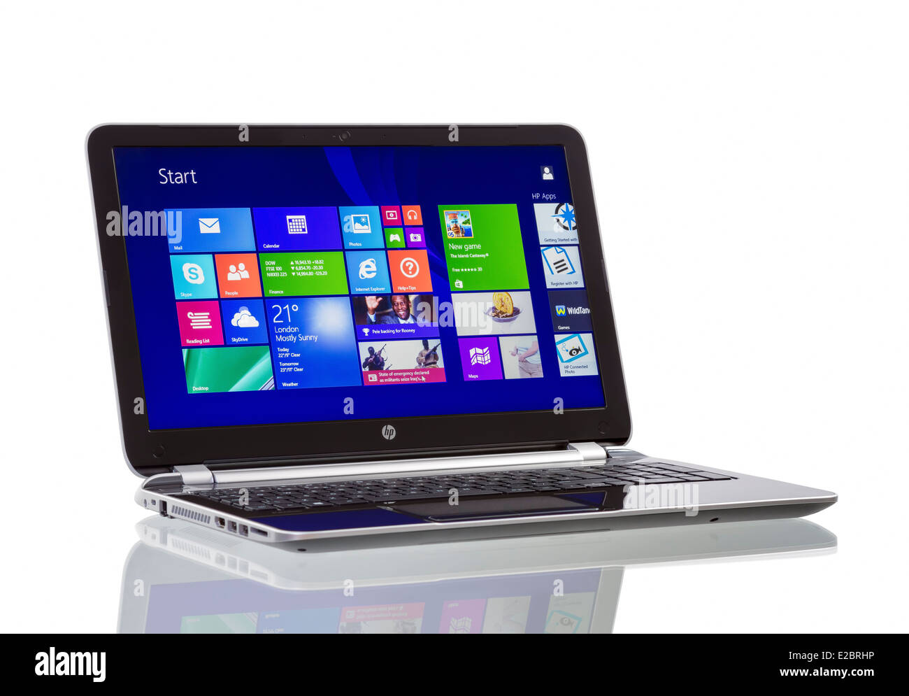 HP Pavilion 15-n230us Notebook PC (ENERGY STAR) with Windows 8.1, newest operating system from Microsoft. - Stock Image