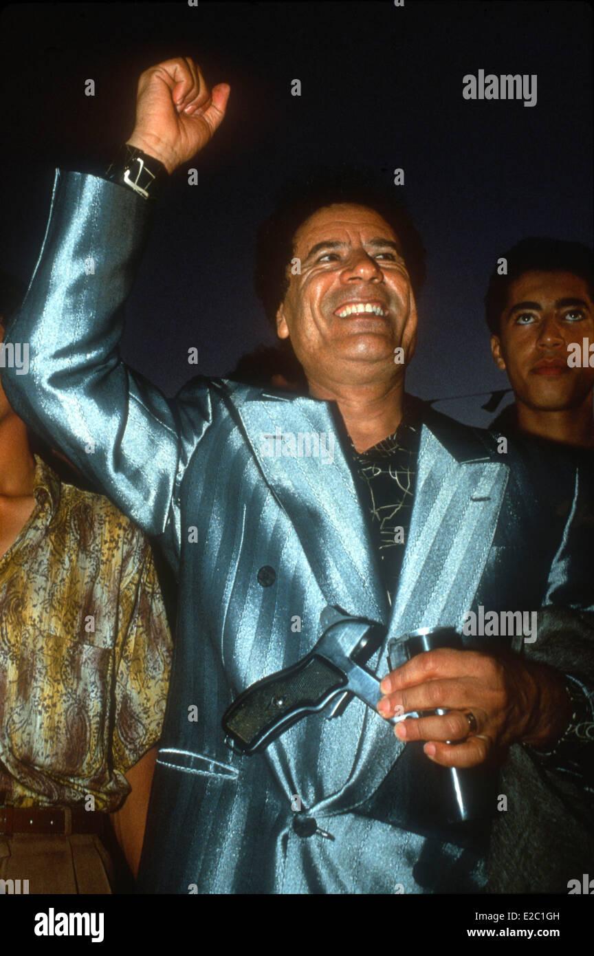 Tripoli, Libya. 20th Oct, 2011. FILE PHOTO - Muammar Gaddafi is dead, Libya's new leaders said, killed by fighters - Stock Image