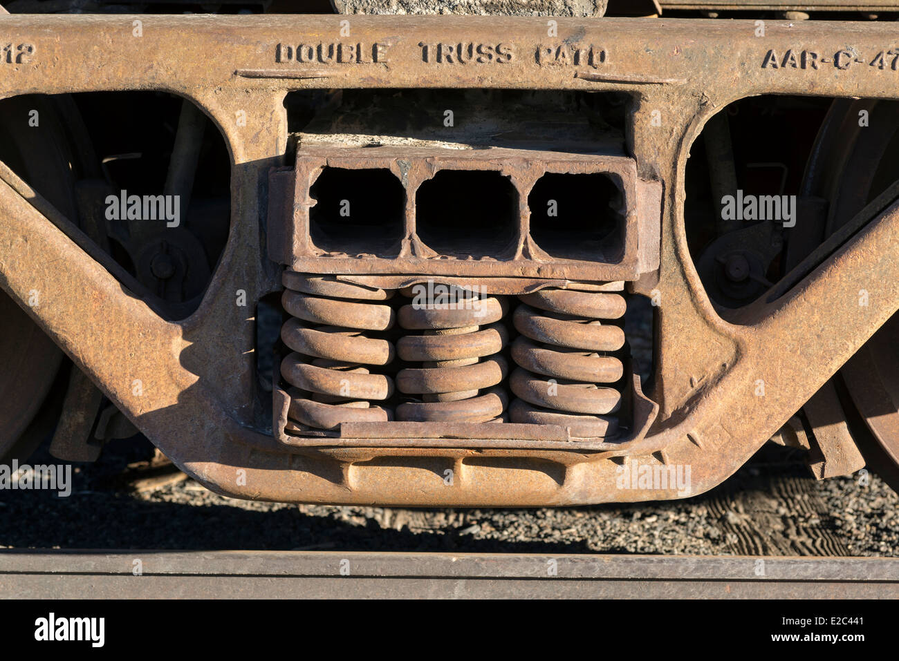 Coil springs of a rail car of the historic Nevada Northern Railway in Ely, Nevada. - Stock Image