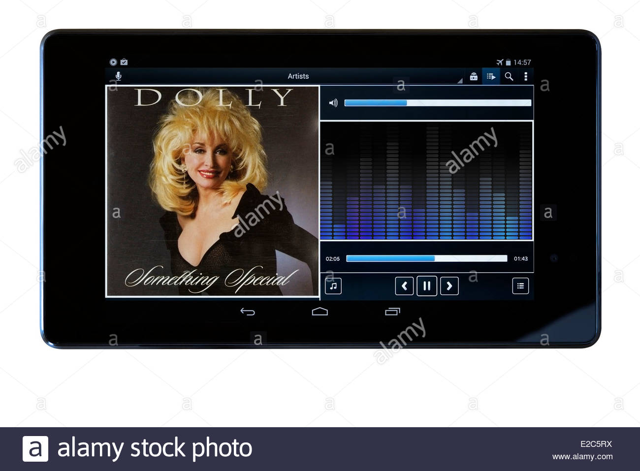 Dolly Parton Something Special, MP3 album art on PC tablet, England - Stock Image