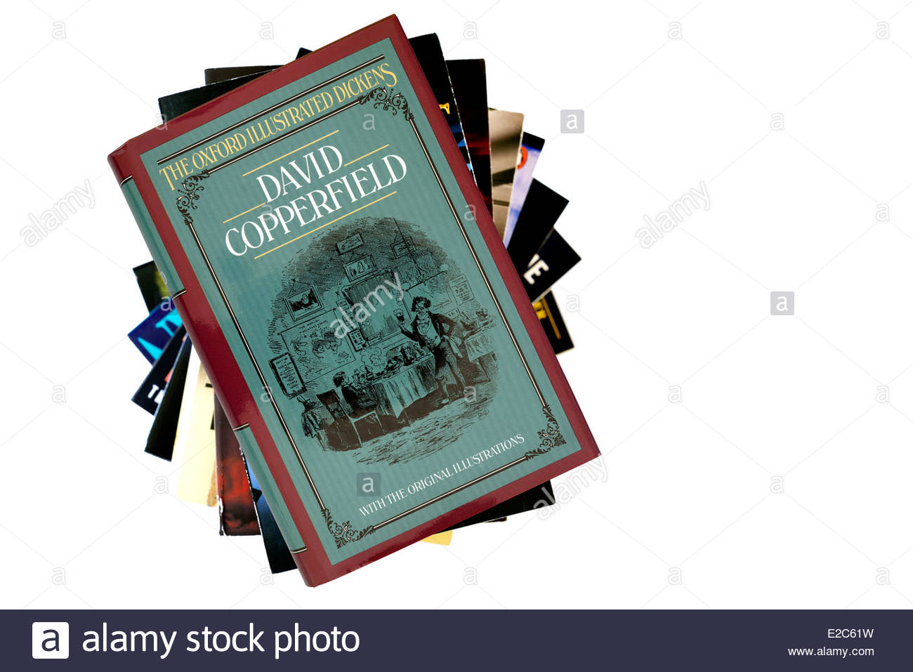 Charles Dickens novel, David Copperfield, book title, stacked used books, England - Stock Image