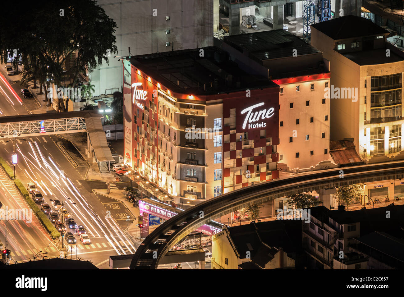Tune Hotel Kuala Lumpur, seen from Menara Kuala Lumpur - Stock Image