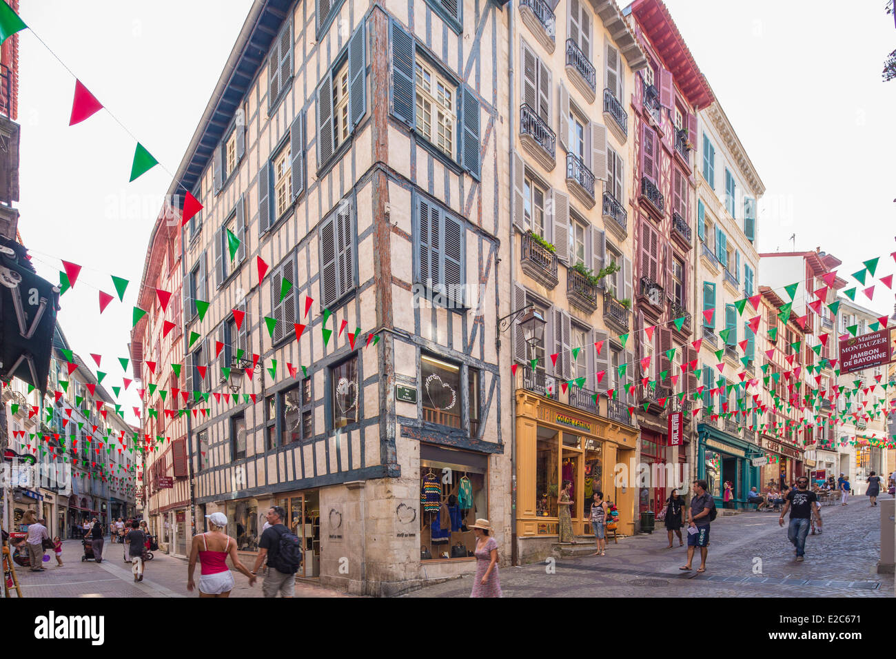 France, Pyrenees Atlantiques, Bayonne,traditional architecture of the pedestrian streets of the city center - Stock Image